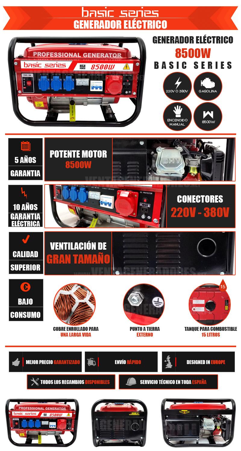 Generador de gasolina de 8500w